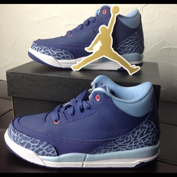 db1851c35fcd Nike Air Jordan Retro 3 GT Purple Blue Kids Shoes